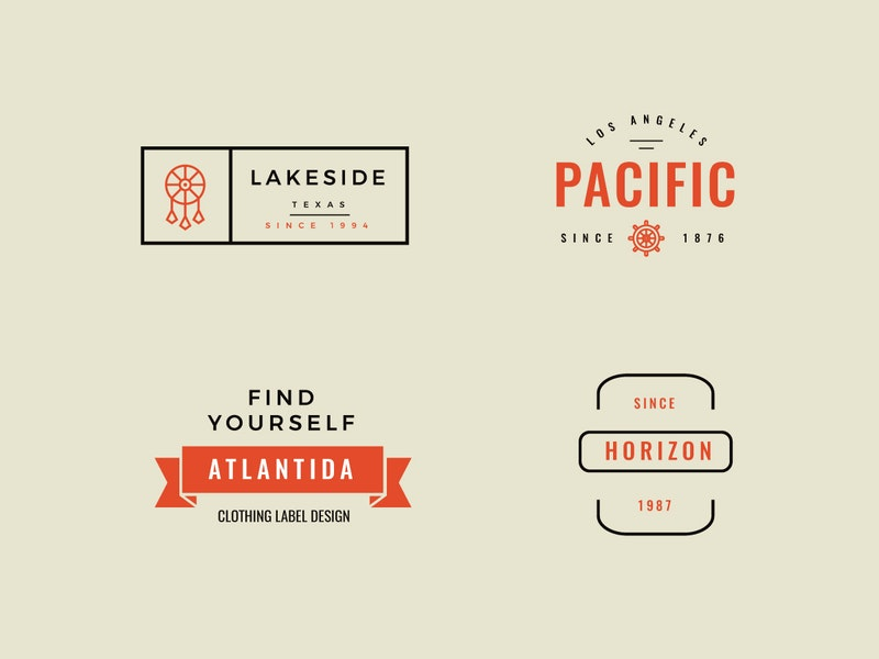 4 Retro Style Logos preview