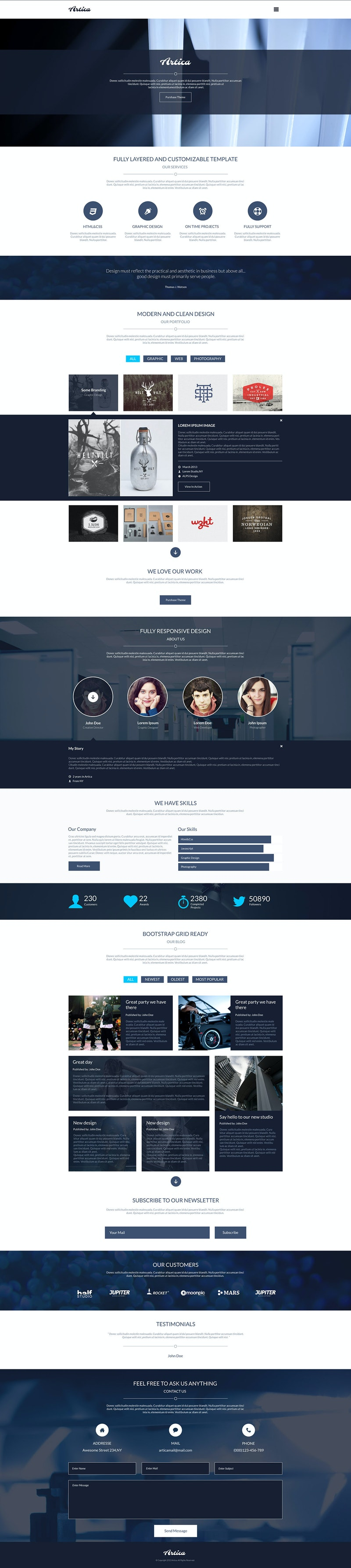 Artica - PSD One Page Web Template preview