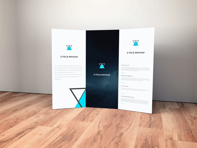 Brochure on Wooden Floor Mockup preview