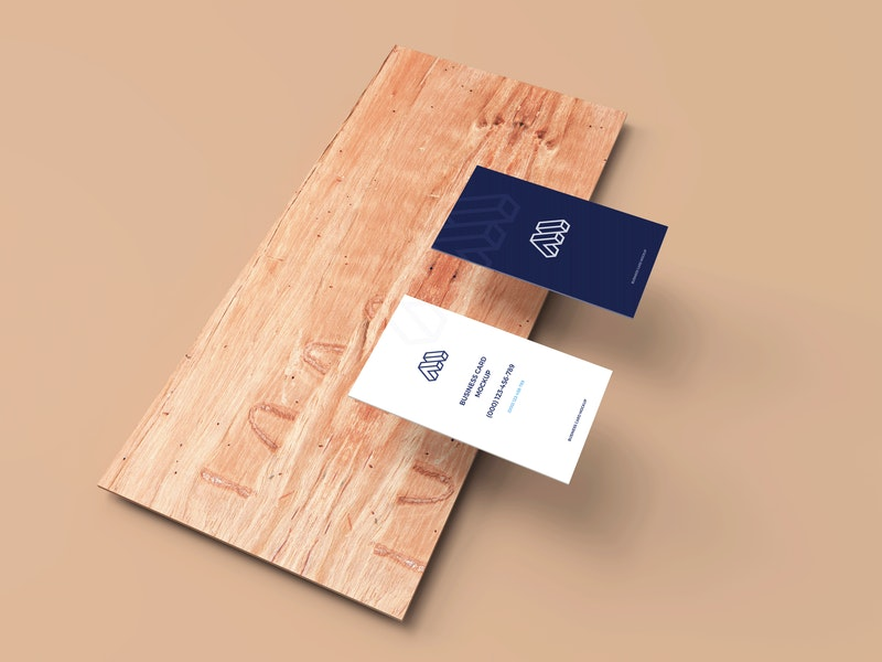 Business Cards Mockup Above Plank preview