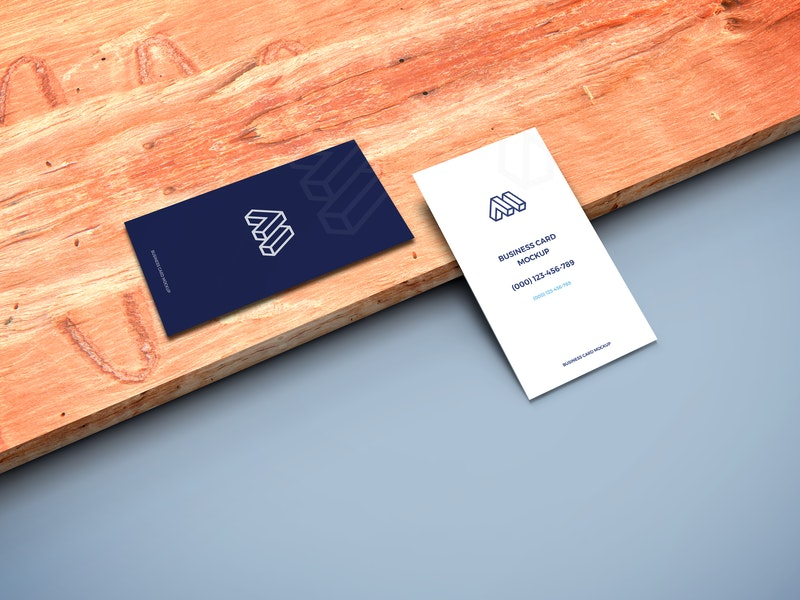 Business Cards on Wooden Plank Mockup preview