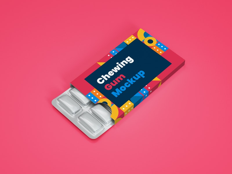 Chewing Gum in Blister Packagaging Mockup preview