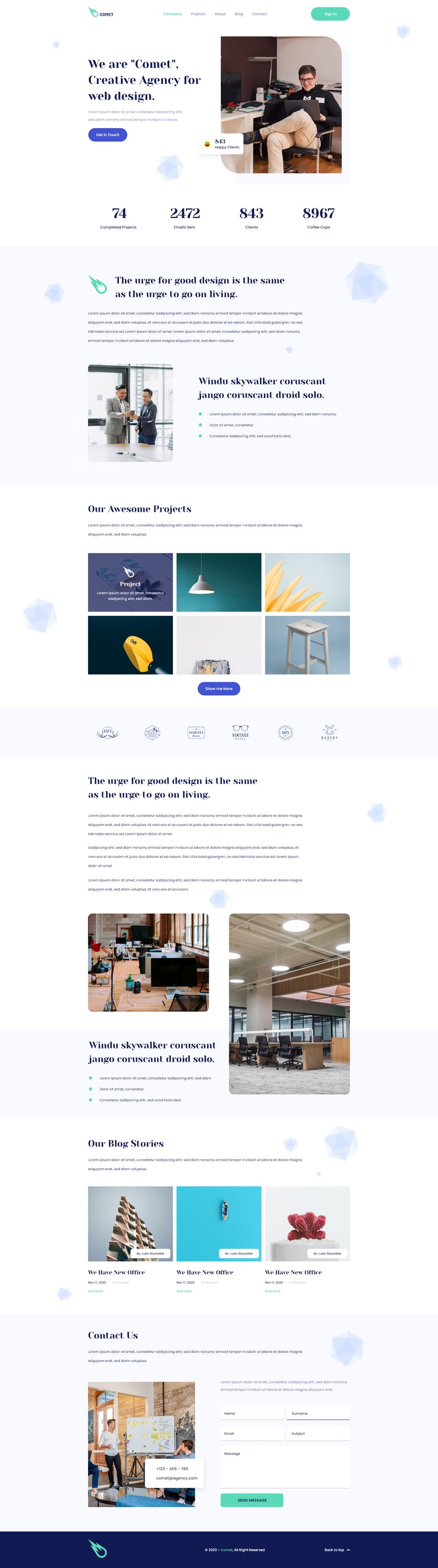 Comet - Adobe XD Landing Page preview