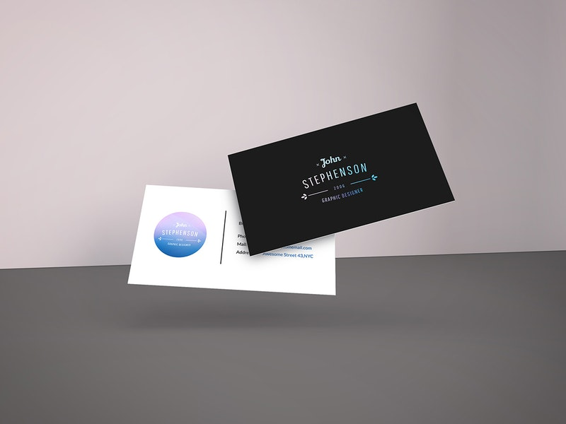 Falling Business Cards Mockup preview