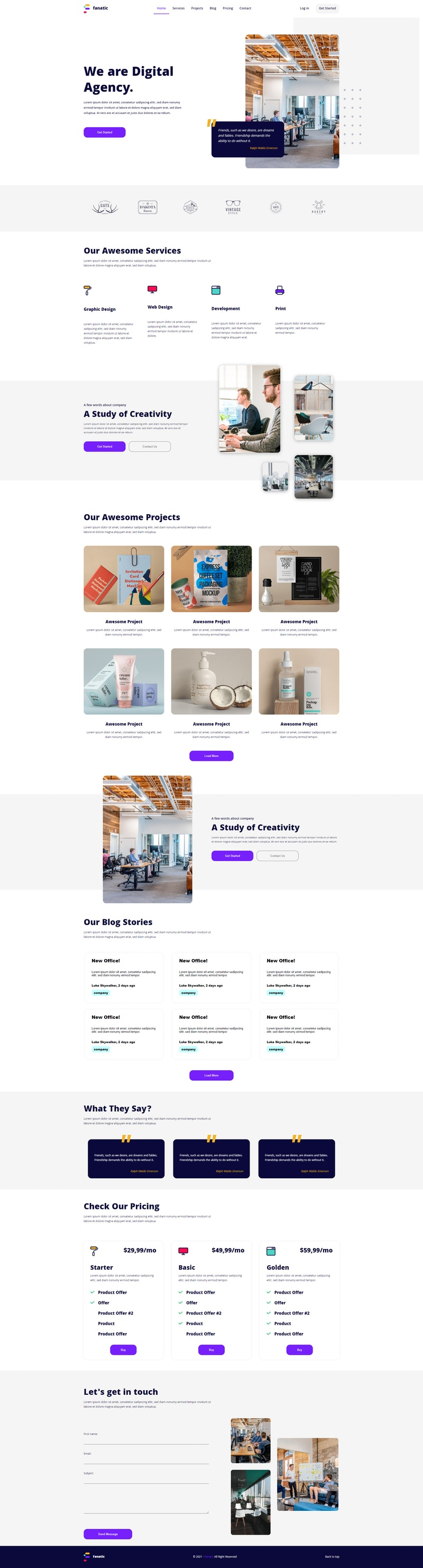 Fanatic - Free React Landing Page preview