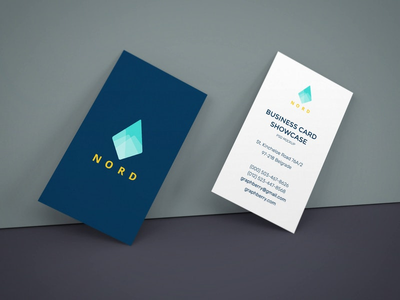 Business Cards On Wall Mockup preview