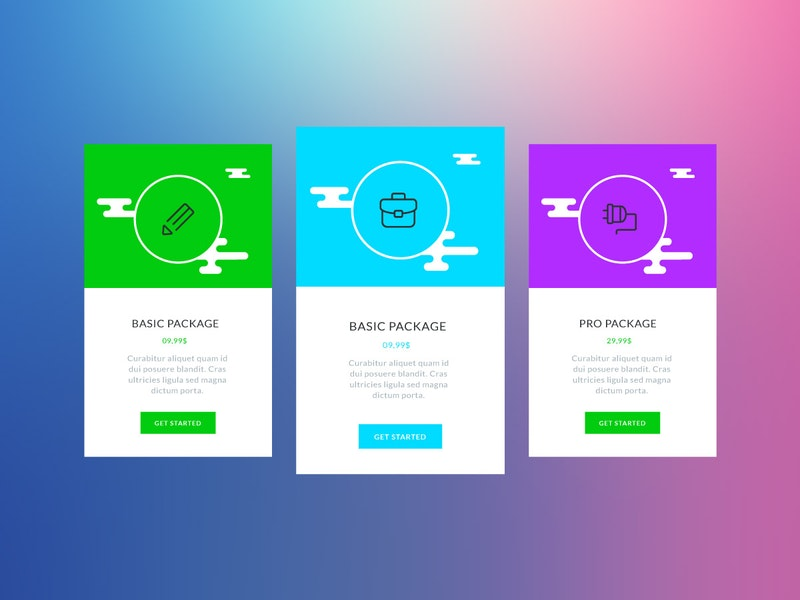 Colorful Vector Pricing Tables preview