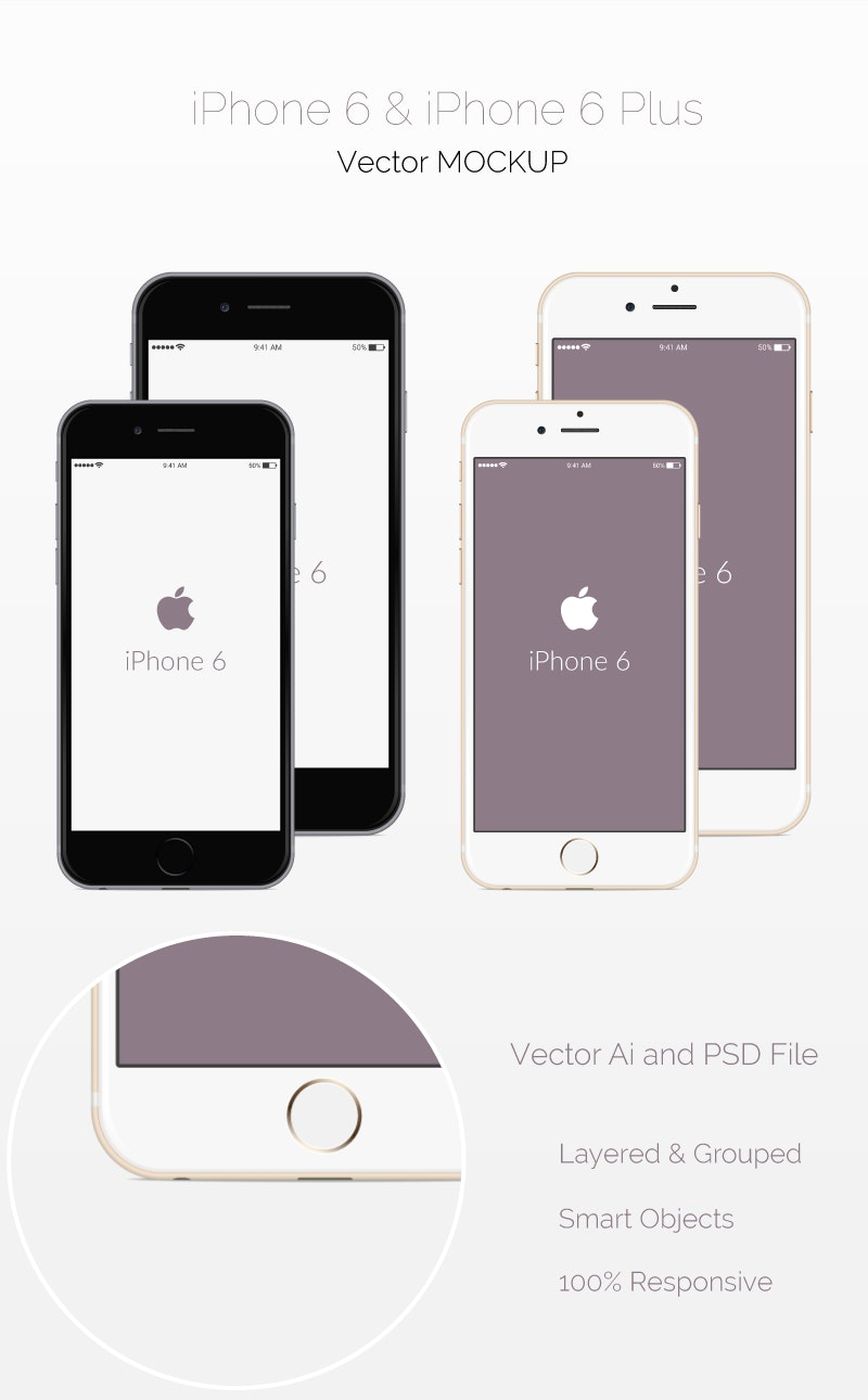 Free PSD iPhone 6 Mockups preview