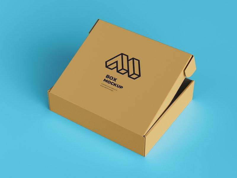 Half Open Cardboard Box Mockup preview