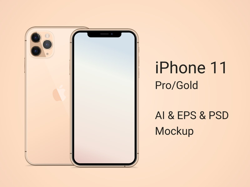 iPhone 11 Pro Gold Mockup preview