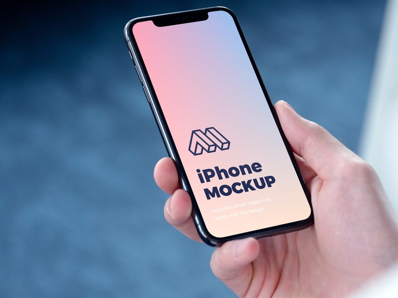 iPhone In Hand PSD Mockup preview