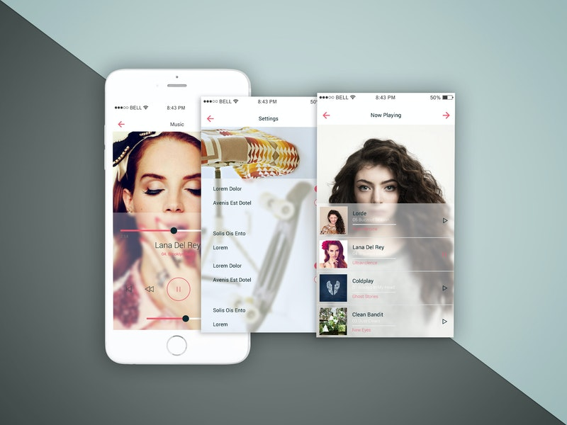 iPhone Three Screens Top View Mockup preview