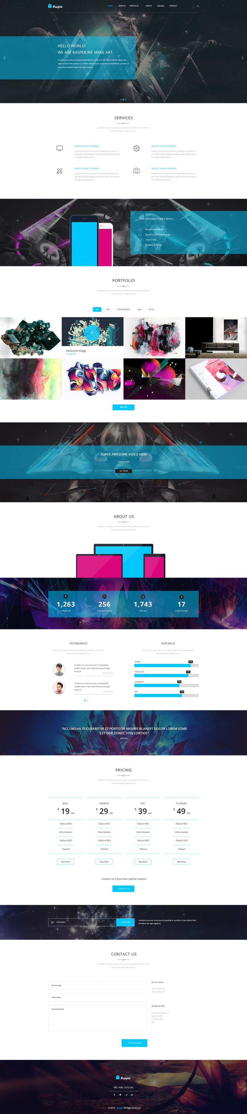 Kasper - One Page Creative PSD Template preview