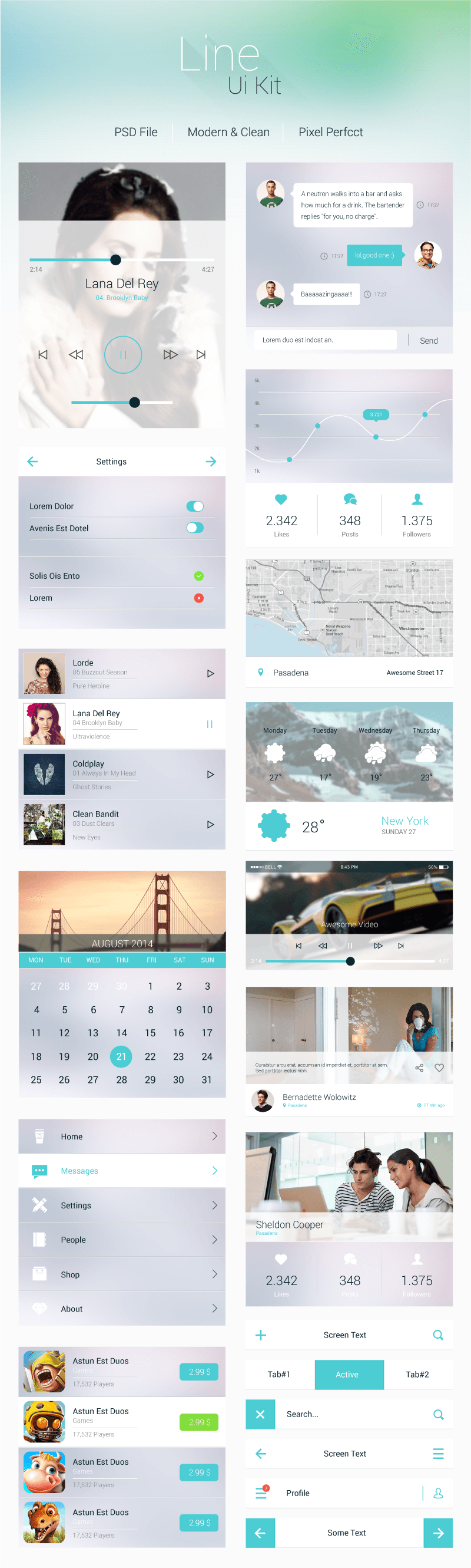 Line - Flat Mobile Ui Kit preview