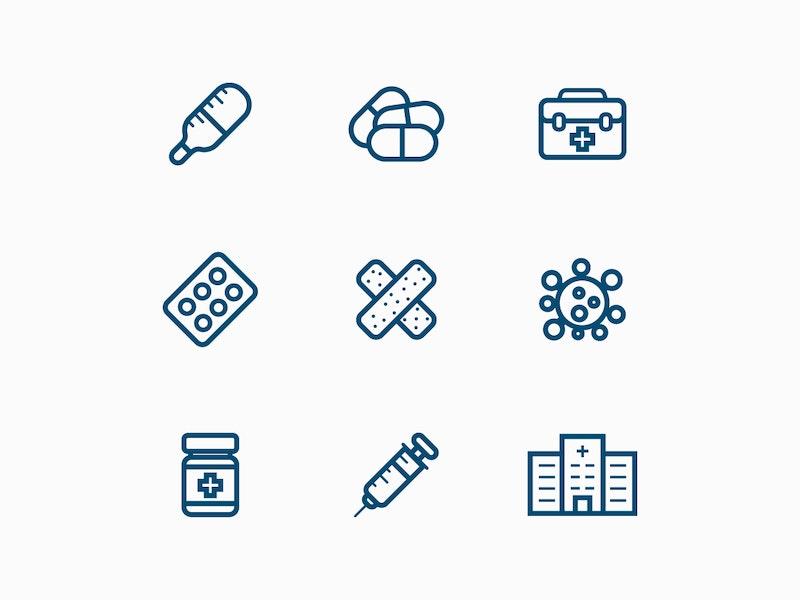 Medicine Line Icons preview