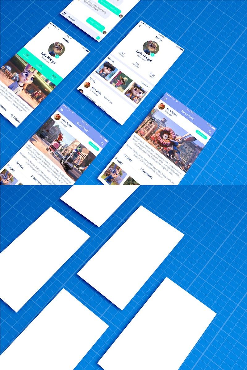 Mobile App Mockup on Blueprint preview