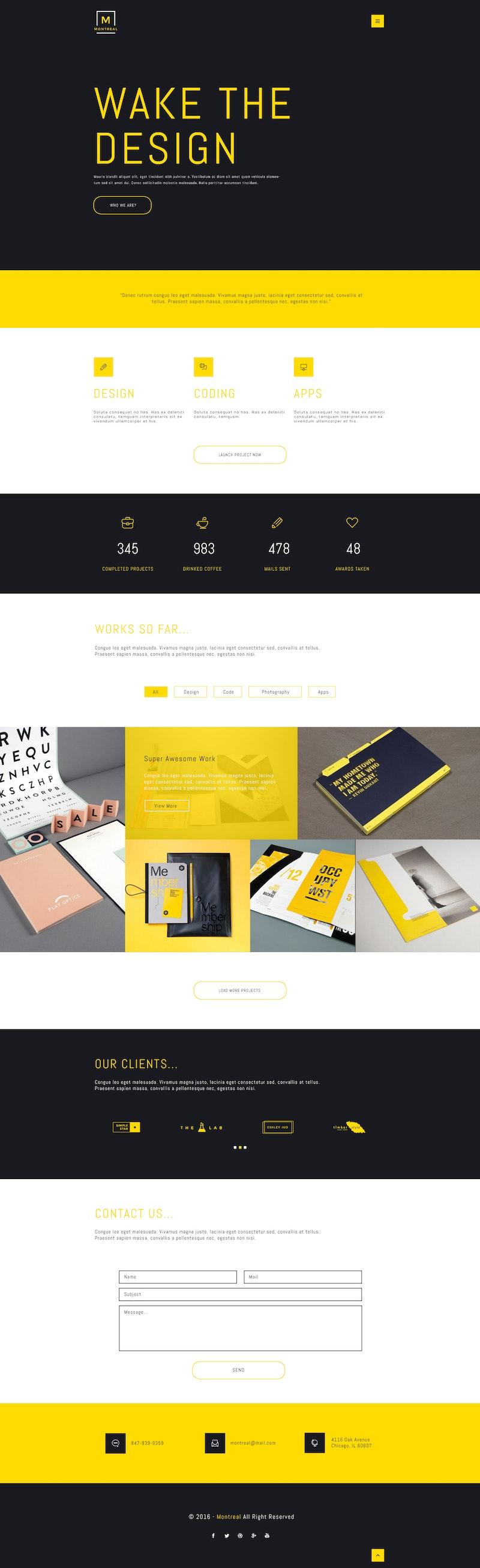 Montreal Creative Portfolio PSD Web Theme preview