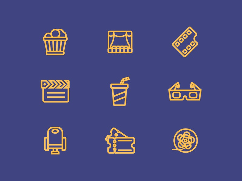 Movie Line Vector Icons preview
