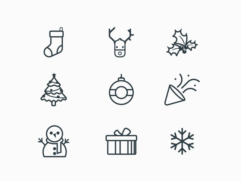 New-Year Line Icons preview