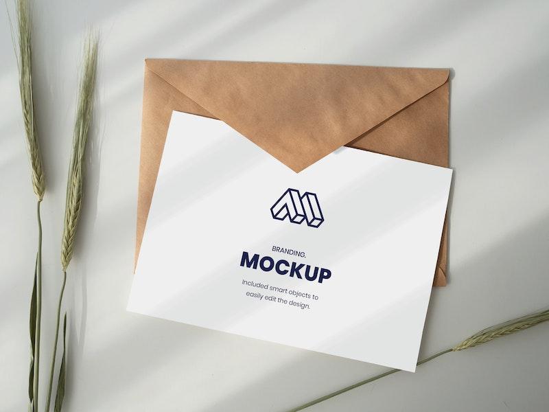 Paper Above Envelope Mockup preview