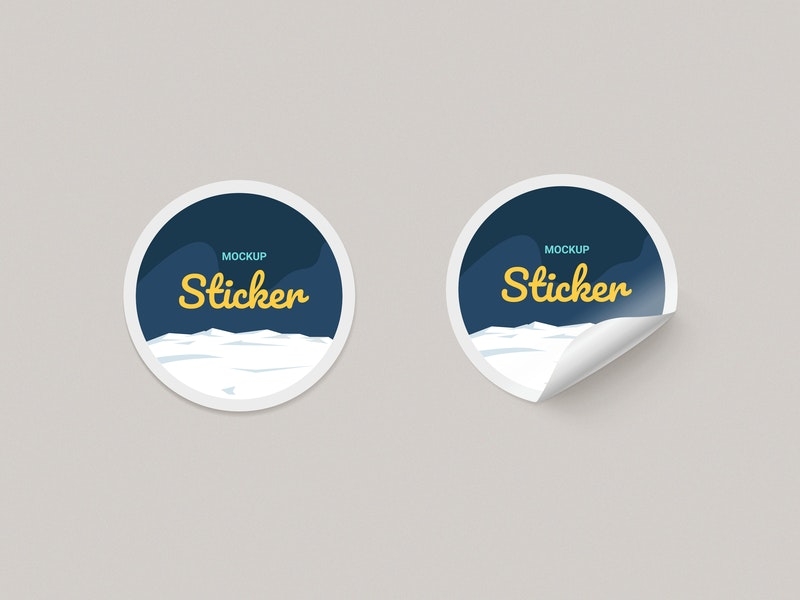 Round  Paper Stickers Mock-up preview