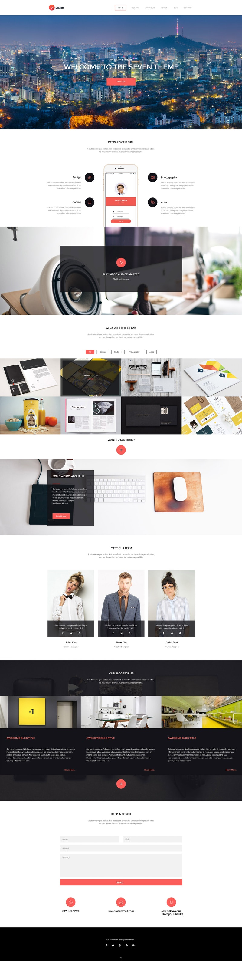 Seven - HTML Single Page Creative Portofolio Template preview
