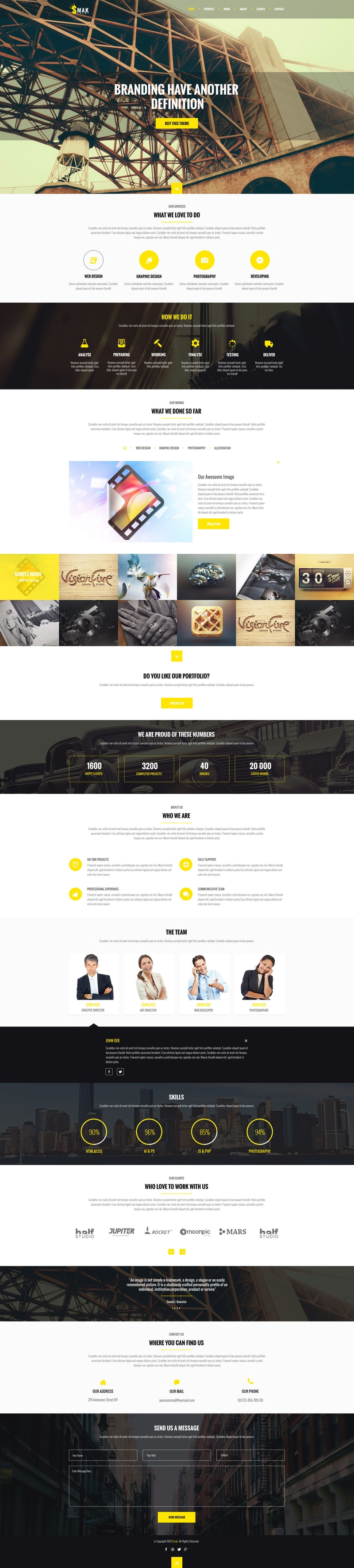 Smak - PSD One Page Web Template preview