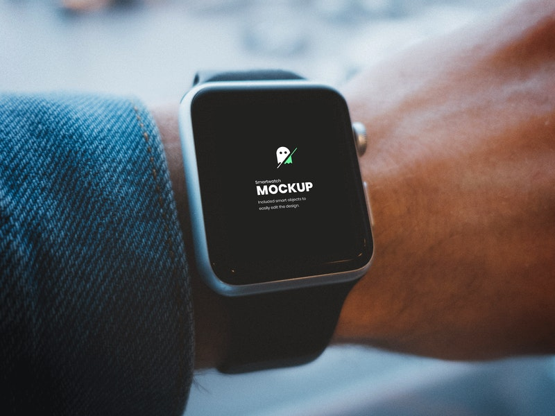 Smartwatch  on Hand PSD Mockup preview