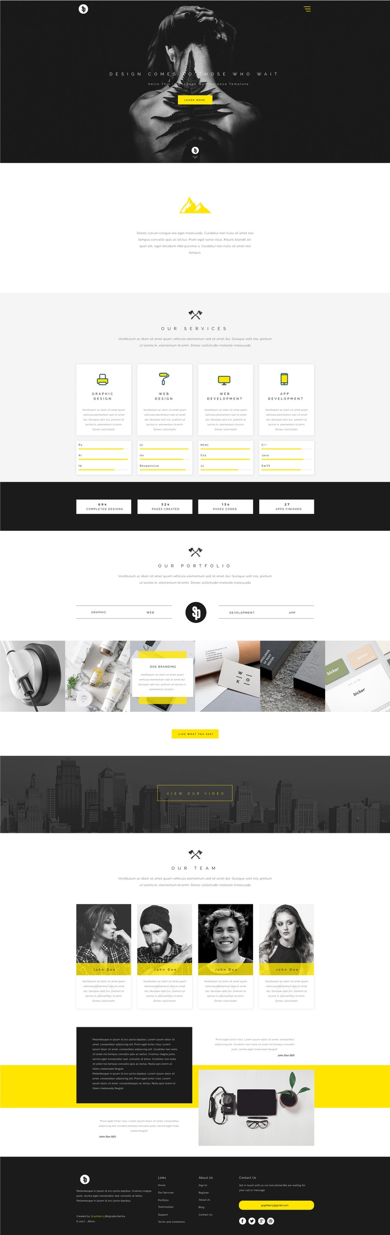 Sparkle - Free Multipurpose PSD Web Template preview