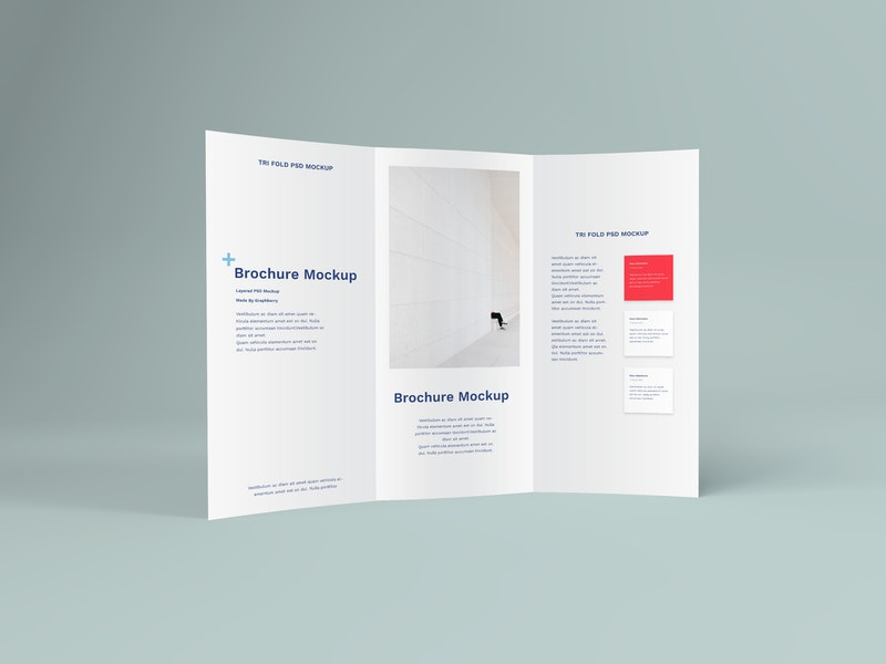 Standing Tri Fold Brochure PSD Mockup preview