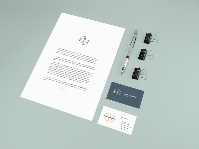 Stationery Mockup With Pencil and Clips preview