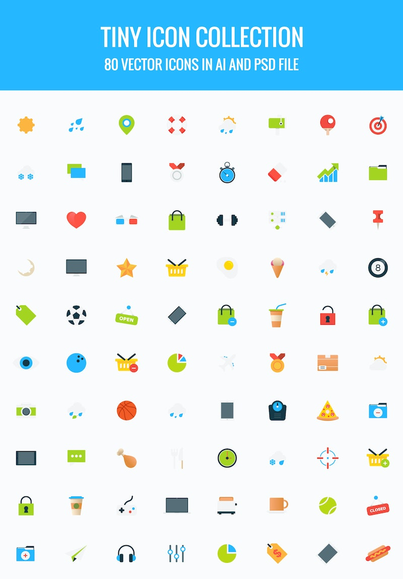 80 Tiny Vector Icons Collection preview