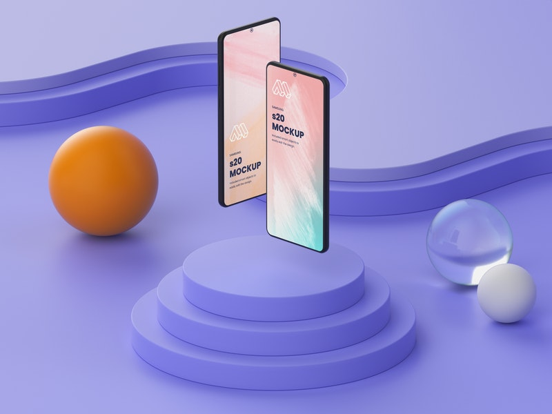 Two Smartphones PSD Mockup preview