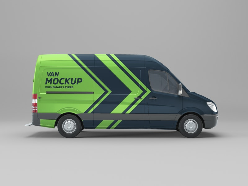 Van Side View PSD Mockup preview