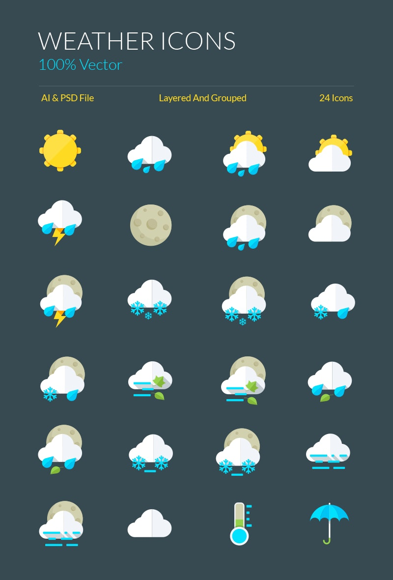 Weather Icons and Symbols preview