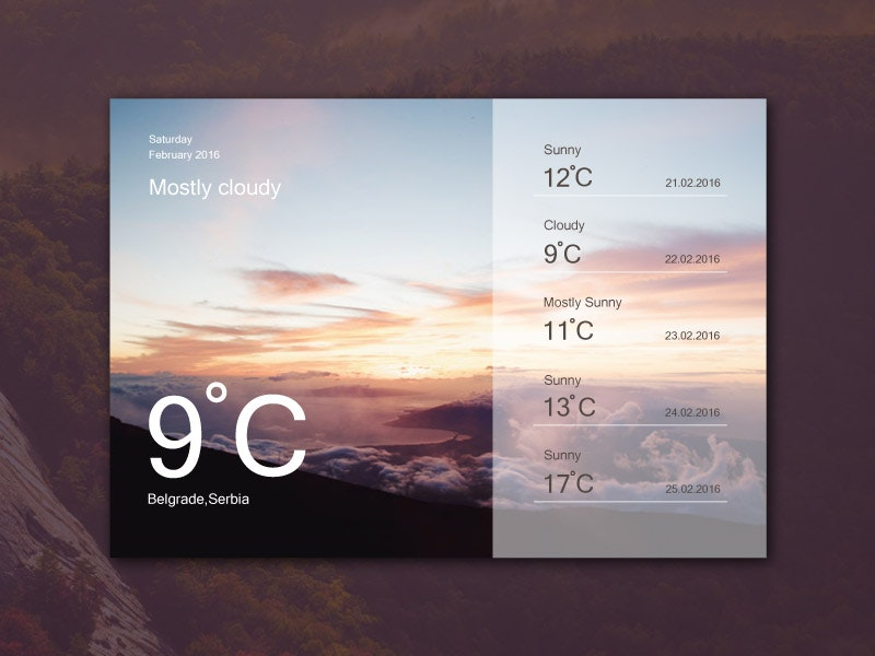 Weather Widget Ui Design preview