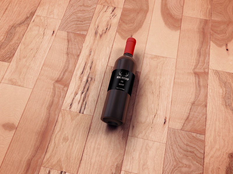 Wine Bottle PSD Mockup On Wooden Floor preview