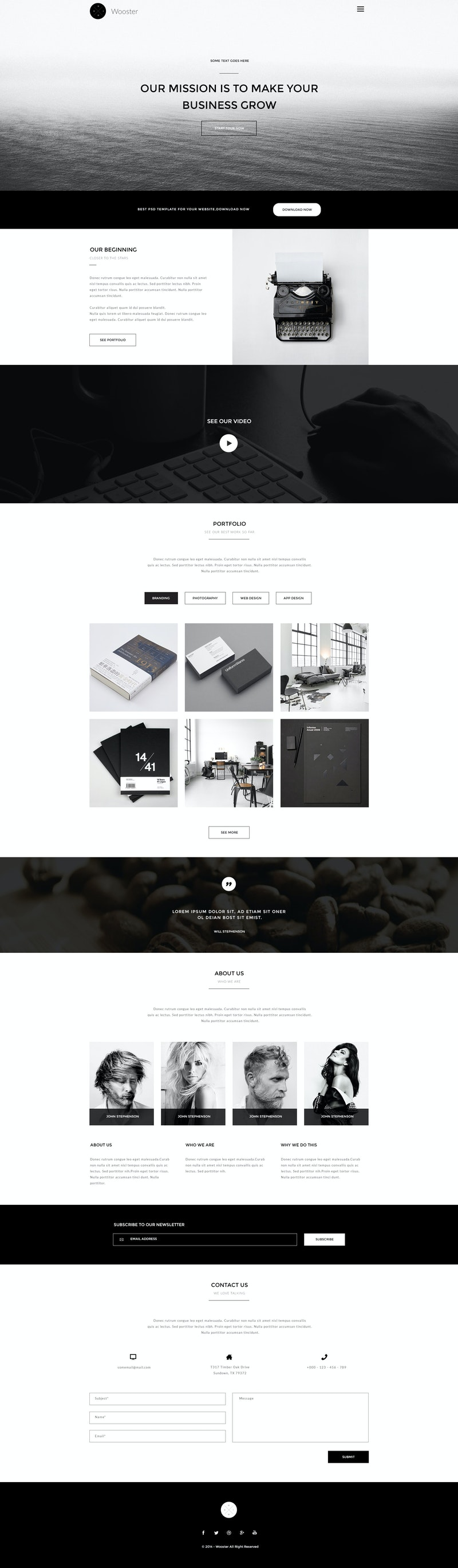 Wooster - Free Bootstrap Onepage Theme preview
