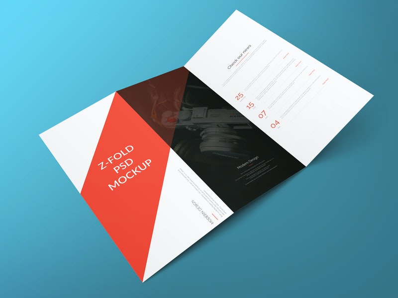 Z Fold Brochure Free PSD Mockup preview