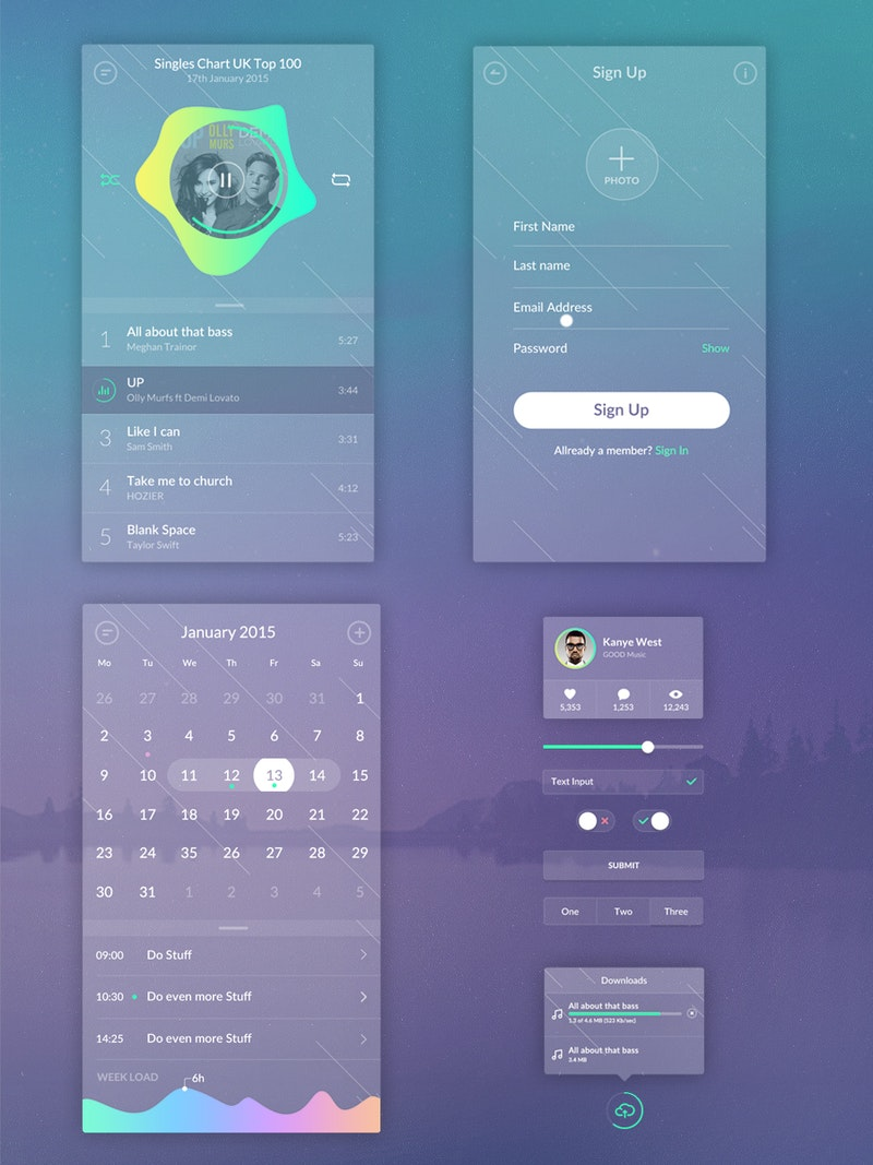 Zen Transparent UI Kit preview